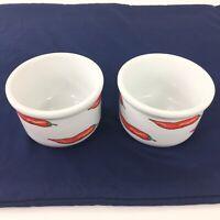 Lot of 2 Cordon Bleu Soup Bowls White w/ Red Chili Peppers Stoneware