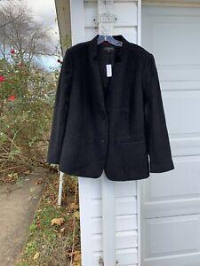 NWT Talbots Beautifully Made Black Boiled Wool Lined Blazer 20W 2X