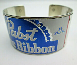 Handmade Pabst Blue Ribbon Bracelet Recycled Can on Sterling Silver Backing PBR