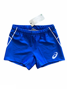 Asics Shorts Women's Small Logo Print Volley Ball Sport Shorts - Blue - New