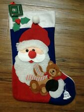 Santa Claus with Teddy Bear Christmas Holiday Stocking
