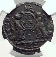 DECENTIUS 351AD Arles Authentic Ancient Roman Coin Victories CHI-RHO NGC i72902