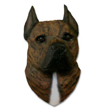 American Staffordshire Terrier Head Plaque Figurine Brindle