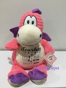 **CLEARANCE**Personalised Pink Dragon Plush Toy Birth Statistics