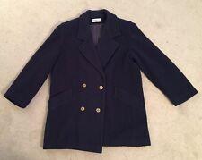 Womens Herman Kay Dark Blue Wool/Nylon Blend Coat