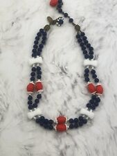 """Signed MIRIAM HASKELL 12"""" NECKLACE Double Strands Choker Red White Blue Beads Q"""