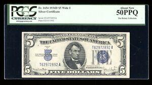 DBR 1934-D $5 Silver Fr. 1654Wi Wide I TA Block PCGS AU-50 PPQ Serial T62972892A
