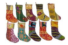 Indian Handmade Recycle Assorted Cotton Kantha Christmas Stockings (3 Pcs )