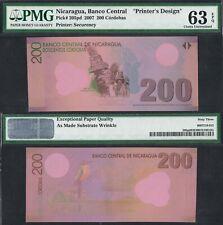 2007 NICARAGUA 200 CORDOBAS POLYMER P-205pd PMG 63 EPQ> > > >PRINTER'S DESIGN NR