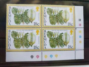 Bermuda 1995 18c Locust and Wild Honey bottom right corner block of 4, MNH
