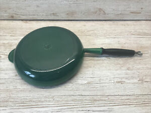 Le Creuset Frying Pan 28cm Green Cast Iron Used.