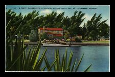 US LINEN POSTCARD RESIDENCE IN TROPICAL SETTING SNELL ISLE ST PETERSBURG FLORIDA