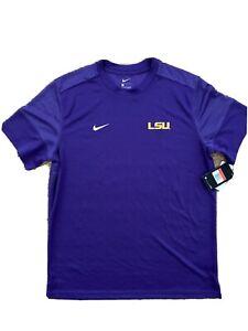 Nike LSU Tigers Coaches Sideline Short Sleeve UV L Shirt Purple CI4759 Size L