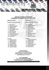 Teamsheet - Newcastle United v FK Partizan 2003/4