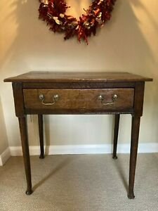 Antique William III oak side table with drawer hall occasional accent table