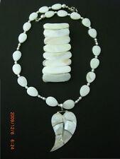 & Expansion Bracelet Sterling 925 Signed Wonderful Mother of Pearl Leaf Pendant