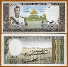 Lao / Laos, Kingdom, 1000 Kip, ND (1963), P-14 (14b) aUNC > King, Temple, Canoes