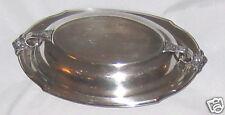 Silverplate Floral Embelished Serving Bowl w Lid 13 Inches Long