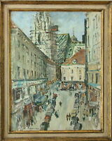 E FERDINAND GRABNER STEPHANSDOM VIENNA 1958 LISTED OIL GOUACHE PAINTING