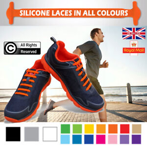 Silicone Shoelaces Elastic Shoe Lace Easy No Tie Kids Adult Lazy Trainers Rubber
