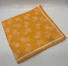 Drakes London Tangerine Orange Turtle Print Cotton Pocket Square