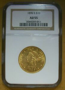 1896-S  $10 LIBERTY GOLD-NGC-AU-55-BETTER DATE