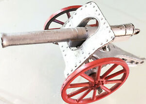 Barclay Field Artillery Cannon Spring Firing Silver 2 Spoked Red Wheels 1935