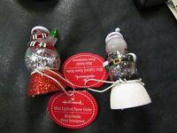 Set of 2 Hallmark Mini Snow globes Snowmen with Tags