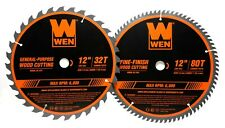 """Wen Bl1232-2 12"""" 32/80-Tooth Carbide-Tipped Woodworking Saw Blade Set, Two Pack"""