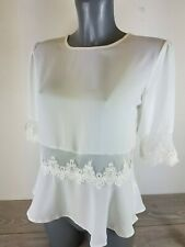ELISE RYAN BLOUSE TOP IVORY 3/4 Sleeve Lace Mesh Details Size UK 8 B442-6