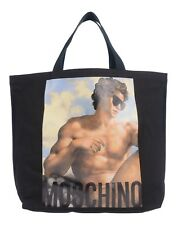 AW17 MOSCHINO COUTURE JEREMY SCOTT FRESCO ART PRINT FABRIC SHOPPER BAG