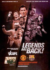 Programme : Manchester United Legends v Barcelona Legends - 02 September 2017