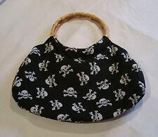 Bamboo Handle White Skulls Print Bag Rockabilly Pinup Vintage Style @ Emporium44