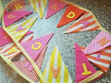 PERSONALISED BUNTING- BOLD BRIGHT RETRO COLOURS- ANY NAME,£1 PER FLAG, FREE P&P