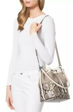 Michael Kors Dottie Python Embossed Leather Large Drawstring Bucket Bag Natural