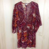 CAbi 841 Epic Open Front w/Tie Tunic Kimono Sheer Paisley Cover-up Purple Sz. S