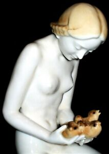 ANTIQUE GERMAN LORENZ HUTSCHENREUTHER ART DECO NUDE LADY PORCELAIN FIGURINE