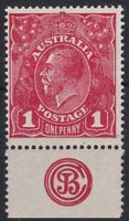 G781) Australia 1914 KGV 1d Deep scarlet (aniline) Single wmk rough paper plate
