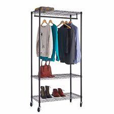 "3 tier Wire Shelf Garment Rack with Hanging Bar- Black Powder Finish 18""x""36"