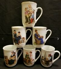 Norman Rockwell Museum Collection Coffee Tea Cup Mugs Xmas 6ct Set