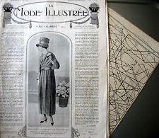 LA MODE ILLUSTREE + PATRON,  n° 8/1918 Voir modèles à réaliser, FRENCH PATTERN