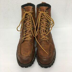 Vintage Vibram Field & Stream Upland Moc Toe Boots Leather USA Sz 12 Hunting