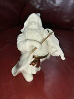 "2000 Distinctively Lefton Santa Claus Playing Violin 4 1/2"" Figurine White Gold"