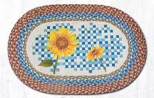 BRAIDED HAND STENCILED OVAL PATCH AREA ARUG By EARTH RUGS--HEIRLOOM SUNFLOWER