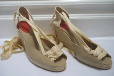 CHRISTIAN LOUBOUTIN tan canvas open toe ankle tie espadrille wedge sandals 41