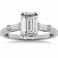 0.84 ct, 0.60 carat EMERALD cut DIAMOND Ring 14k White Gold 2 Baguette, GIA E VS