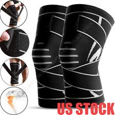 Elastic Compression Knee Brace Wrap Support Stabilizer Sports Gym Running Black