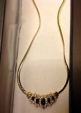 Sapphire and Diamond Necklace 14k Solid Yellow Gold