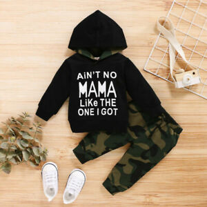 Infant Baby Boy Clothes Hoodie Long Sleeve Tops Camo Pants Trousers Outfit Sets