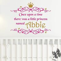 Wall Sticker Princess Personalised Name Once upon a time Girls Vinyl Decal DF77